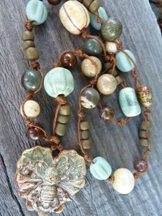 Honey Love Ceramic Bee Heart Pendant in Earthy Aqua and Brown with Jaspers, Ceramic and IndoPacific Glass Strung on Hemp