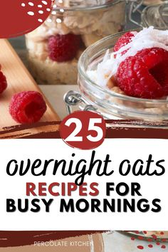 Overnight oats are simple to put together, full of flavor and slow-burning energy, and they make busy mornings go faster! Here's a great list of my favorite 25 grab-and-go overnight oats recipes. Ice Cream For Breakfast, Make Ahead Breakfast, Healthy Breakfast Recipes, Breakfast Ideas, Protein Overnight Oats, Chocolate Overnight Oats, Healthy Cookie Dough, Healthy Cookies, Homemade Apple Pies