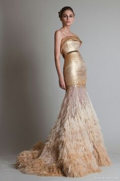 """Krikor Jabotian Couture 2014   Wedding Inspirasi   Absolutely Gorgeous Glamorous Gold Strapless Trumpet Silhouette Wedding Gown Showcasing A """"Cuffed"""" Straight Across Neckline, Fitted Bodice, Metallic Gold Belt At Natural Waist, Sequined & Feathered Skirt, Court Length Train........................................."""