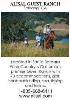 The Alisal Guest Ranch & Resort is California's premier dude ranch experience in the heart of Santa Barbara wine country. Things To Know, How To Memorize Things, Ranch Vacations, Guest Ranch, Vacation Packages, South Dakota, Horseback Riding, Wine Country, Resort Spa