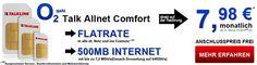 Allnet Flat mit 500 MB Internet Flat für 7,98€ http://www.simdealz.de/o2/mobilcom-debitel-comfort-allnet-flat-mit-auszahlung/
