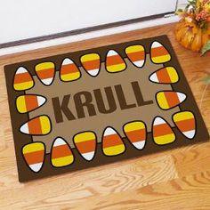 Personalized Candy Corn Halloween Doormat