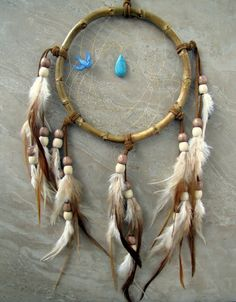 30 OFF Dream Catcher  Brown Beige and Blue by peacefrogdesigns, $31.50