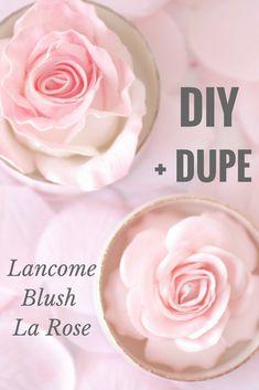 diy lancome la rose blush, la rose blush dupe, lancome rose highlight diy #HomemadeBlush Makeup Crafts, Diy Makeup, Makeup Art, Blush Dupes, Homemade Blush, White Spray Paint, Highlights, Makeup Dupes, Homemade Cosmetics