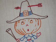 Vintage Embroidered Towel Thanksgiving Pilgrim w a Pumpkin Head
