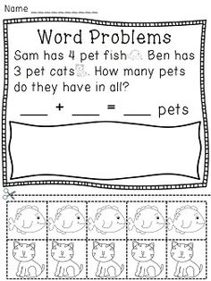 Word problems cut and paste for fun practice with addition story problems