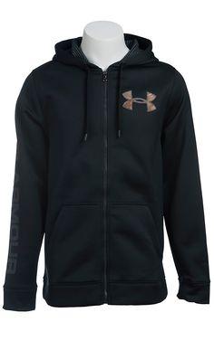 Under Armour Men's Black with Camo UA Storm ColdGear Infrared Armour Fleece Caliber Hoodie