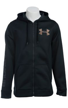 Under Armour Men's Black with Camo UA Storm ColdGear Infrared Armour Fleece Caliber Hoodie