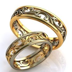 Vintage style Engagement Rings, Unique Design Wedding Rings, Wedding Rings set, Filigree Wedding Rings, Unusual Wedding Rings,14K solid gold