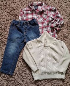 560cc4a62acb Lucky Brand 24M Toddler Dragway Sweater Set Turtle Heather Jeans Plaid Shirt  Red #LuckyBrand Sweater