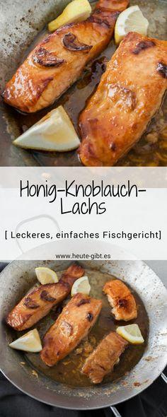 Lachs mit einer Knoblauch-Honig-Kruste. Ein leckeres Fischgericht, das einfach und schnell zubereitet ist. Ideal als Abendessen oder für ein Menü mit Fisch, wenn mal wieder Gäste da sind. Rezept auf www.heute-gibt.es #rezept #fisch #food #fischgericht #einfach #lachs #vegetarisch