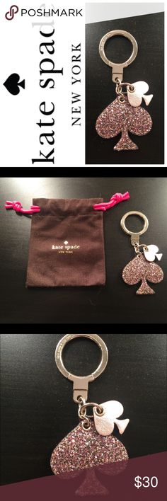 AUTHENTIC Kate Spade Keychain Glittery Kate Spade Keychain. Key ring is secure. Dust Bag included. kate spade Accessories Key & Card Holders