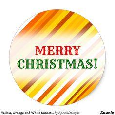 Yellow Orange and White Sunset-Inspired Stripes Classic Round Sticker - christmas craft supplies cyo merry xmas santa claus family holidays Christmas Stickers, Family Holiday, Round Stickers, Orange, Yellow, Craft Supplies, Merry Christmas, Stripes, Sunset