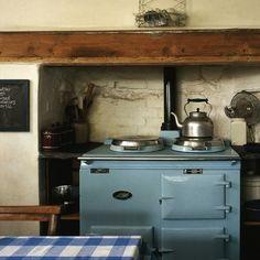 kitchen, pale blue AGA