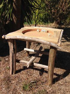 Table de jeux en bois flotté, pin maritime et liège
