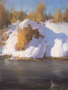 Josh Clare Fine Art: Inspiring original oil paintings of nationally renowned Utah-based artist Josh Clare. Classic Paintings, Cool Paintings, Beautiful Paintings, Winter Landscape, Landscape Art, Landscape Paintings, River Painting, Painting Snow, Painting Art
