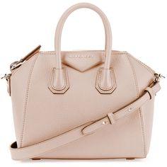 Givenchy Antigona Mini Sugar Satchel Bag ($1,750) ❤ liked on Polyvore featuring bags, handbags, handbags satchels, pink, hand bags, pink leather purse, satchel handbags, leather satchel purse and leather tote bags