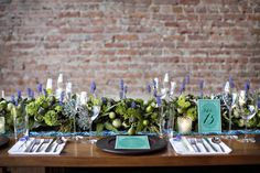 Lavender and Succulent Garland Centerpiece | photography by http://www.firstcomeslovephoto.com/