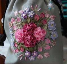 I ❤ ribbonwork . . .  ~By umisma  I love the center flowers. I have not seen ones like this before.
