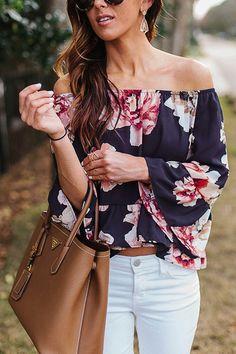 Off Shoulder Random Floral Pattern Flared Sleeves Top - US$11.95 -YOINS