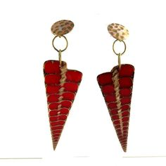 Long dangle red earrings Shell  brass designed by by BrandFaina, $19.99