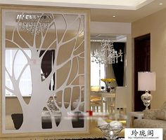 Home/Hotel decoration tree-simple, pierced engraved partition MDF entrance screen wall