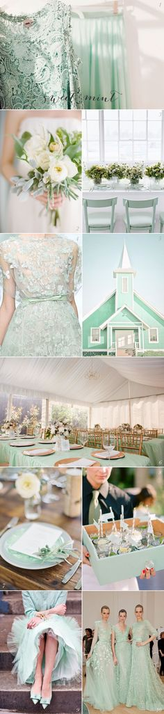 Perfect mint wedding inspiration, love the mint green chapel!