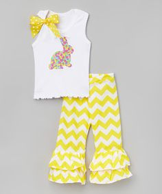 Yellow Jelly Bean Bunny Tank Set - Infant, Toddler & Girls
