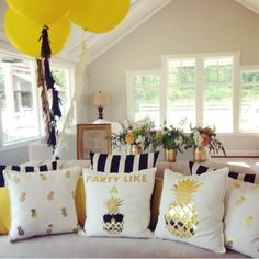Pillows for the couches at the venue.  Gold pineapple party pillows! FancyItPretty Etsy shop