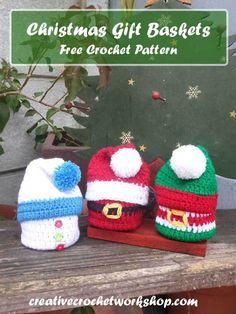 Christmas Gift Baskets – Free Crochet Pattern Fun and easy Christmas Gift Baskets to make. Fill these mini baskets with Christmas Goodies!