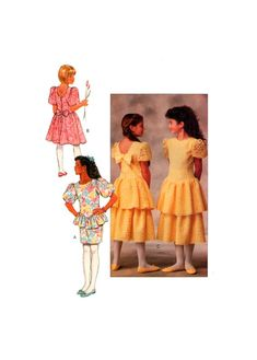 80s Butterick 3550 Drop Waist Flower Girl, Bridesmaid, Party Dress with Skirt Ruffle Variations, Uncut, F/Folded, Sewing Pattern Size 7-10 Straight Skirt, Drop Waist, Flare Skirt, Sewing Patterns, Party Dress, Bows, Bridesmaid, Weddings, Knitting