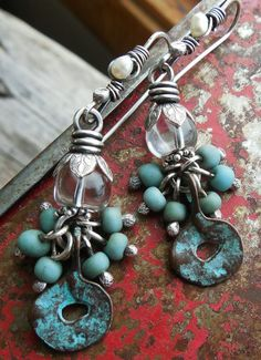 Verdigris Patina Rustic Copper Paddle Sterling by lunedesigns, $36.00 -- Fabulous ancient-feeling patinaed Mykonos drops from www.stinkydogbeads.com