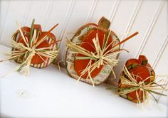 Set of 3 Mini Wooden Pumpkins.  Ready to ship.  by doubledutydecor,