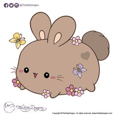 TheKittyDragon is an independent artist creating amazing designs for great products such as t-shirts, stickers, posters, and phone cases. Funny Bunnies, Cute Bunny, Cute Illustration, Doodle Art, New Art, Hello Kitty, Doodles, Dragon, Kawaii