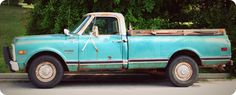 Love this blue pick-up truck!