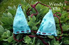 Knitted Bikini Top  Teal Tie Dye with Maroon Strings by WendysKiss, $30.00