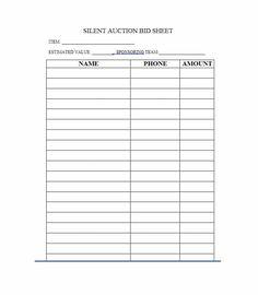 silent auction spreadsheet template