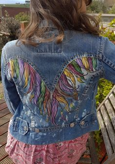 This item is unavailable Painted Denim Jacket, Painted Jeans, Painted Clothes, Hand Painted, Custom Clothes, Diy Clothes, Denim Ideas, Denim Crafts, Jean Skirts
