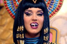 teaser of Katy Perry Juicy J Dark Horse video with egyptian bedazzled grill and all