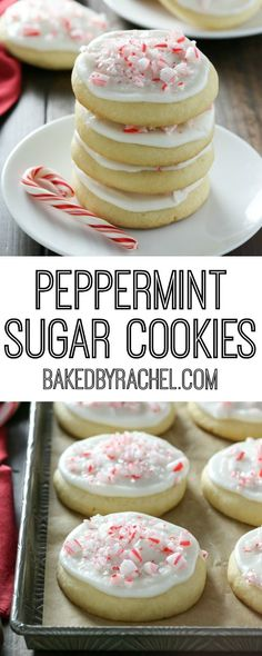 Peppermint frosted soft batch sugar cookie recipe from A Lofthouse style cookie! Pepermint Cookies, Iced Sugar Cookies, Sugar Cookies Recipe, Frosted Cookies, Cupcake Recipes, Cookie Recipes, Dessert Recipes, Dessert Ideas, Mint Chip Ice Cream