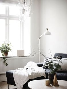 white living room white floor lamp grey sofa green plants on window sill details gold styling..