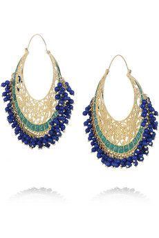 ISHARYA Moon Bali Gold Plated Hoop Earrings £171.00 - Embellish your hottest holiday looks in drippy beaded hoops this summer