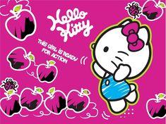 Fotomural FT xxl 1474 con imagen en rosa fuscia de la Hello Kitty junto con manzanas acompañada por la frase en inglés: Esta chica está preparada para la acción.
