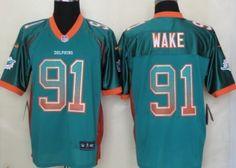 Nike Miami Dolphins #91 Cameron Wake 2013 Drift Fashion Green Elite Jersey