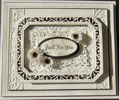 PartiCraft 7 x 8 1/2: Just For You Ornate Pierced Rectangle Noble, Lavish Swirls Diagonals, Classic Adorned Rectangle, Refined Rectangle,Cornflowers
