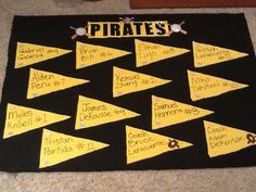 """This rustic team banner was made for T-Ball, 3-4 year olds. It's made of black felt and gold fabric (for the team colors). Puffy paint was used to write the players name and jersey #. The """"Pirate"""" letters are individual plastic type stickers from Michaels and hot glued on. All the extra baseball and pirate touches are iron on appliqués that were also hot glued onto the fabric. Use low temp glue gun only. The flag shapes were traced onto the fabric with a pencil and cut with regular scissors."""