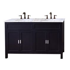 Shop Bellaterra Home Bellaterra 60-in x 22-in Ebony Double Sink Bathroom Vanity with Natural Marble Top at Lowes.com