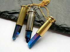 Mystic Quartz Bullet Shell Necklace  Dark Blue by DanaCastle, $28.50
