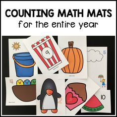 16 sets of printable counting math mats for preschool, pre-k, and kindergarteners to use with manipulatives and snacks while practicing Beginning Of The School Year, Back To School, School Stuff, Learning Centers, Math Centers, Math Games, Learning Activities, Preschool Kindergarten, Preschool Themes