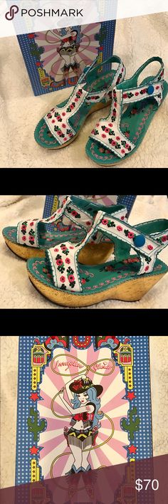 Irregular Choice,Once In A Blue Moon Floral Wedges Once In A Blue Moon  Gold Wedge Heel, Teal floral and designs inside the shoe. Outside White with pretty Embroidery flowers all around. 2 Pair Brand new in the box, great for Summer. ☀️☀️☀️☀️ Irregular Choice Shoes Wedges